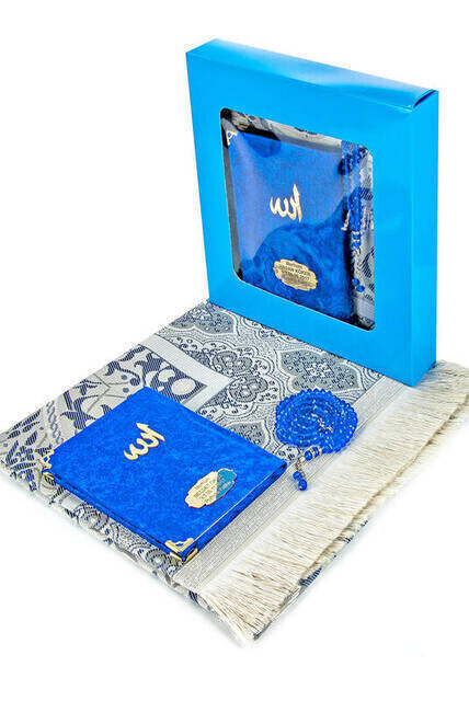 Velvet Coated Yasin Book - Bag Boy - Name Special Plate - Seccadeli - Rosary - Boxed - Navy Blue - Mevlid Gift