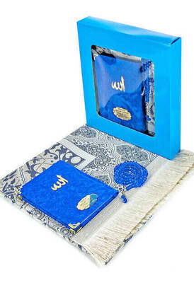 İhvan - Velvet Coated Yasin Book - Bag Boy - Name Special Plate - Seccadeli - Rosary - Boxed - Navy Blue - Mevlut Gift