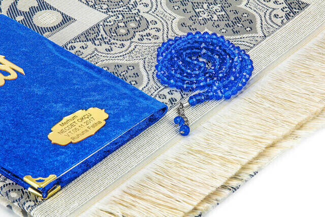 Velvet Coated Yasin Book - Bag Boy - Name Special Plate - Seccadeli - Rosary - Boxed - Navy Blue - Mevlut Gift