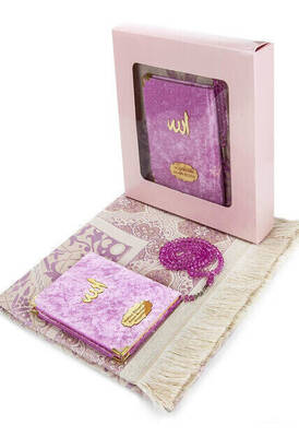 İhvan - Velvet Coated Yasin Book - Bag Boy - Name Special Plate - Seccadeli - Rosary - Boxed - Pink - Mevlut Gift