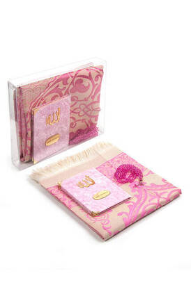 İhvan - Velvet Coated Yasin Book - Bag Boy - Name Special Plate - Seccadeli - Rosary - Boxed - Pink Color - Mevlid Gift Set