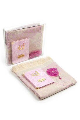 İhvan - Velvet Coated Yasin Book - Bag Boy - Name Special Plate - Seccadeli - Rosary - Boxed - Pink Color - Mevlut Gift Set