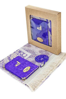 İhvan - Velvet Coated Yasin Book - Bag Boy - Name Special Plate - Seccadeli - Rosary - Boxed - Purple - Mevlut Gift