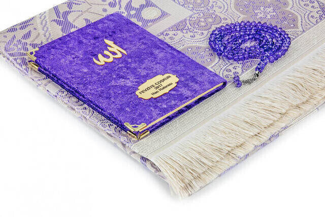 Velvet Coated Yasin Book - Bag Boy - Name Special Plate - Seccadeli - Rosary - Boxed - Purple - Mevlut Gift
