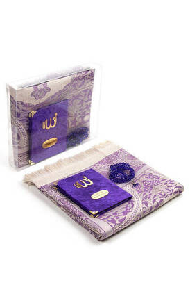 İhvan - Velvet Coated Yasin Book - Bag Boy - Name Special Plate - Seccadeli - Rosary - Boxed - Purple Color - Mevlid Gift Set