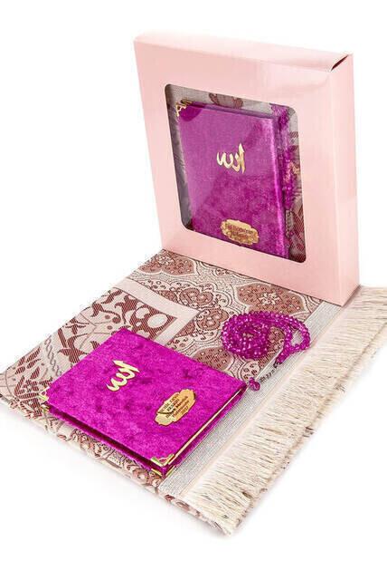 Velvet Coated Yasin Book - Bag Boy - Name Special Plate - Seccadeli - Rosary - Boxed - Pushhya - Mevlut Gift