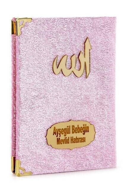 Velvet Coated Yasin Book - Cep Boy - Name Special Plate - Rosary - Boxed - Pink - Mevlut Gift