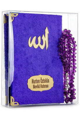İhvan - Velvet Coated Yasin Book - Cep Boy - Name Special Plate - Rosary - Boxed - Purple - Mevlut Gift
