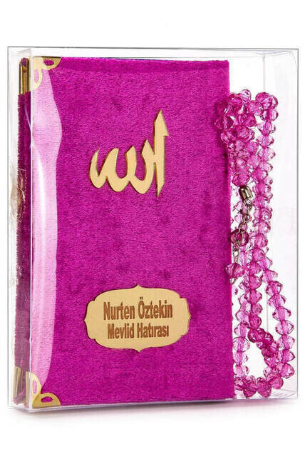 Velvet Coated Yasin Book - Cep Boy - Name Special Plate - Rosary - Boxed - Pushhya - Mevlut Gift