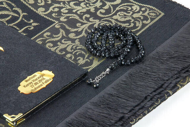 Velvet Coated Yasin Book - Cep Boy - Name Special Plate - Seccadeli - Rosary - Boxed - Black - Mevlut Gift