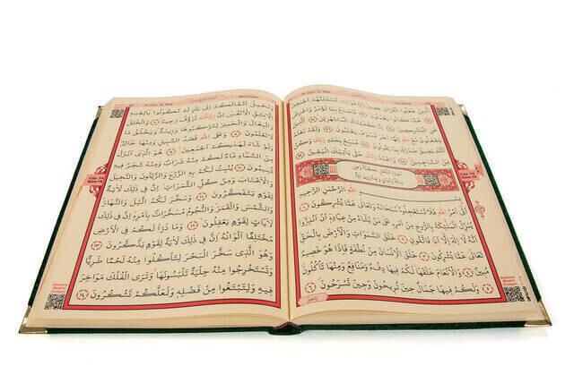 Velvet Covered Koran Karim - Cami Boy - Oversized Koran - Computer Lined - Wordy - Green Color