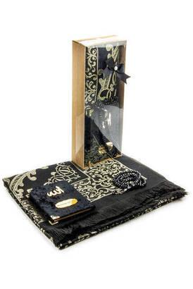 İhvan - Velvet Covered Yasin Book - Pocket Size - Name Special Plate - Prayer Rug - Rosary - Boxed - Black Color - Mevlid Gift Set