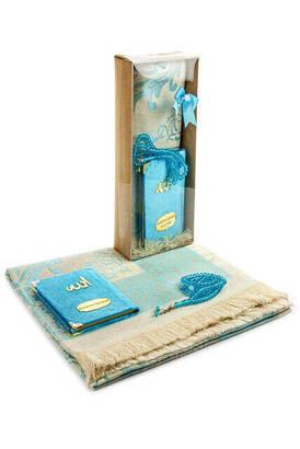 İhvan - Velvet Covered Yasin Book - Pocket Size - Name Special Plate - Prayer Rug - Rosary - Boxed - Blue Color - Mevlid Gift Set