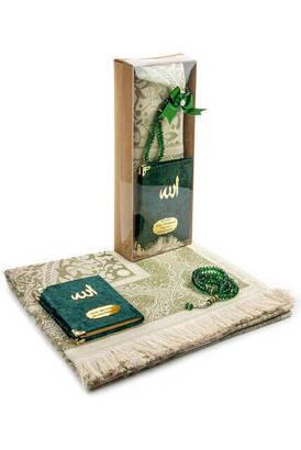 İhvan - Velvet Covered Yasin Book - Pocket Size - Name Special Plate - Prayer Rug - Rosary - Boxed - Green Color - Mevlid Gift Set