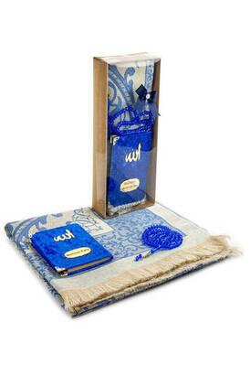 İhvan - Velvet Covered Yasin Book - Pocket Size - Name Special Plate - Prayer Rug - Rosary - Boxed - Navy Blue Color - Mevlid Gift Set