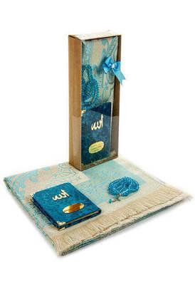 İhvan - Velvet Covered Yasin Book - Pocket Size - Name Special Plate - Prayer Rug - Rosary - Boxed - Petrol Color - Mevlid Gift Set