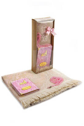 İhvan - Velvet Covered Yasin Book - Pocket Size - Name Special Plate - Prayer Rug - Rosary - Boxed - Pink Color - Mevlid Gift Set