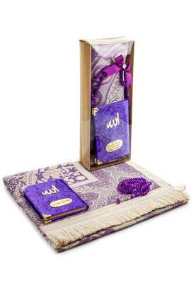 İhvan - Velvet Covered Yasin Book - Pocket Size - Name Special Plate - Prayer Rug - Rosary - Boxed - Purple Color - Mevlid Gift Set