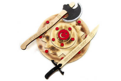 İhvan - Wooden Sword, Shield Ax Toy Set