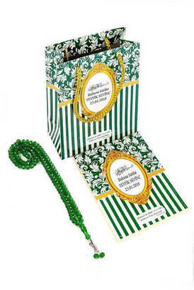 Furkan Neşriyat - Yasin Kitabı - Çanta Boy - 128 Sayfa - Özel İsim Etiketli - Karton Çantalı - Tesbihli - Yeşil Renk - Mevlüt Hediyeliği