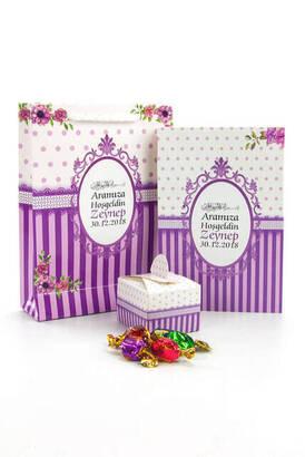 Furkan Neşriyat - Yasin Kitabı - Cep Boy - 64 Sayfa - İsim Etiketli - Şekerli - Karton Çantalı - Mor Renk - Mevlid Hediyeliği
