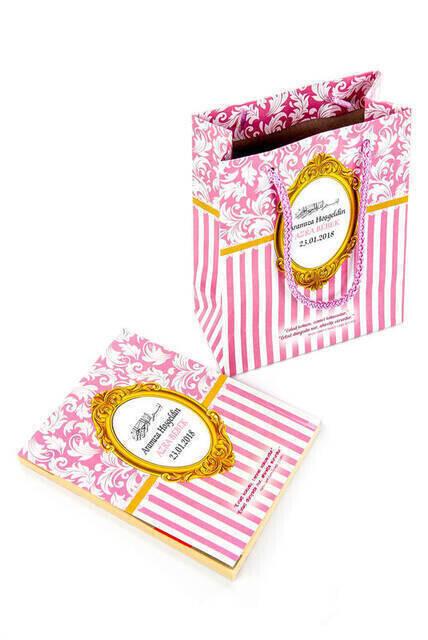 Yasin Book - Bag Boy - 128 Pages - Special Name Labeled - Cardboard Bag - Rosary - Pink Color - Mevlut Gift