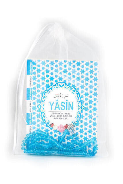 Yasin Book - Bag Boy - 128 Pages - Tulle Marsupeli - Rosary - Blue Color - Mevlid Gift