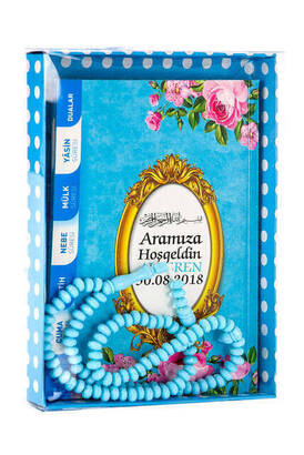 Furkan Neşriyat - Yasin Book - Bag Boy - 80 Pages - Name Labeled - Cardboard Box - Rosary - Blue Color - Mevlid Gift