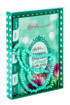 Furkan Neşriyat - Yasin Book - Bag Boy - 80 Pages - Name Labeled - Cardboard Box - Rosary - Green Color - Mevlid Gift