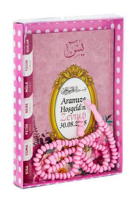 Furkan Neşriyat - Yasin Book - Bag Boy - 80 Pages - Name Labeled - Cardboard Box - Rosary - Pink Color - Mevlid Gift