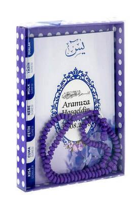 Furkan Neşriyat - Yasin Book - Bag Boy - 80 Pages - Name Labeled - Cardboard Box - Rosary - Purple Color - Mevlid Gift