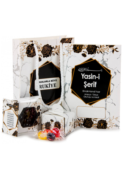 Yasin Set - Bag Boy - 64 Pages - Name Tagged - Rosary - Magnetli - Sugary - White Color - Mevlid Gift