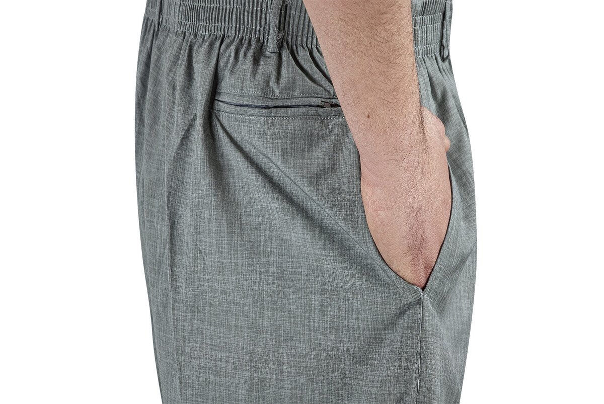 Yazlık Keten Lastikli Bel Şalvar-Pantolon Gri