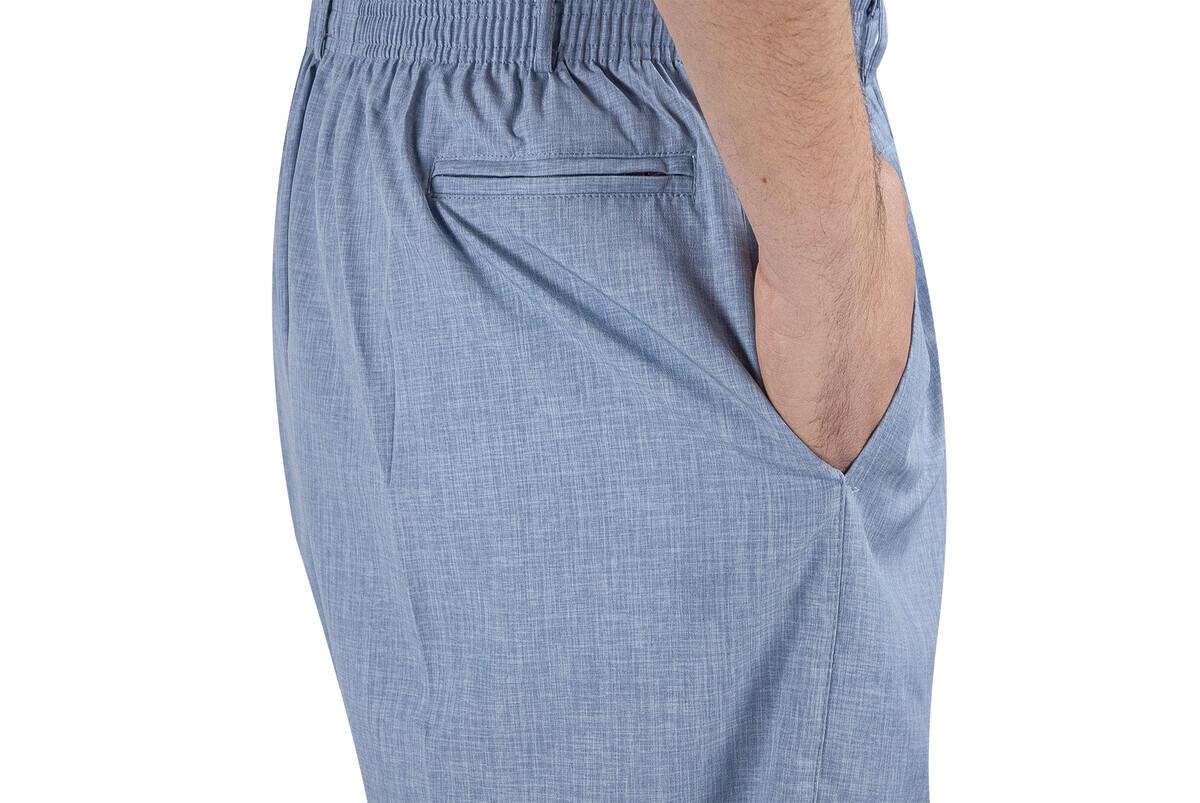 Yazlık Keten Lastikli Bel Şalvar-Pantolon Mavi
