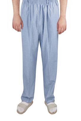 İhvan - Yazlık Keten Lastikli Bel Şalvar-Pantolon Mavi