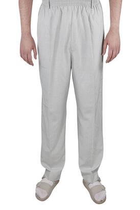 İhvan - Yazlık Keten Lastikli Bel Şalvar-Pantolon Taş